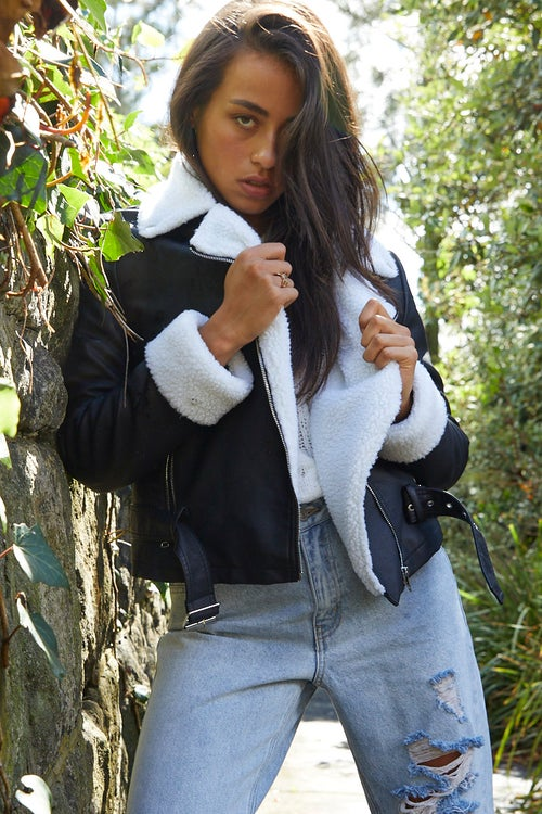 Long Sleeve Faux Leather Belted Aviator Jacket