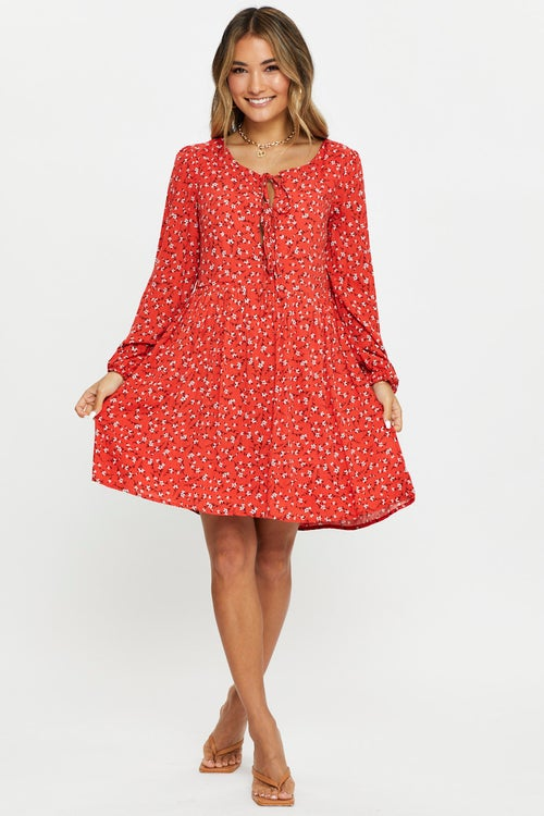 Long Sleeve Floral Front Tie Mini Smock Dress