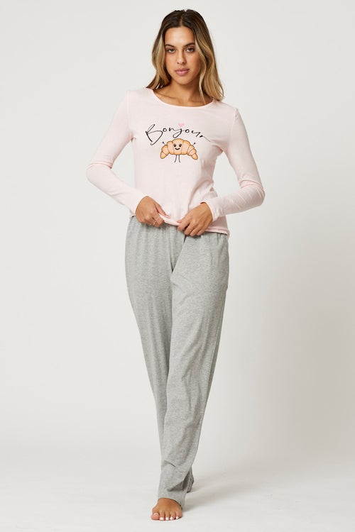 Long Sleeve Graphic Croissant Pyjama Set