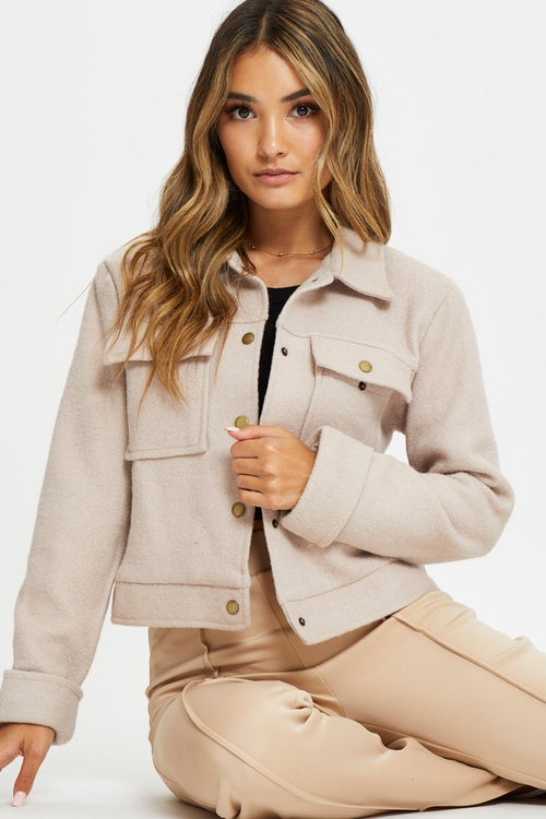 Long Sleeve Patch Pocket  Jacket