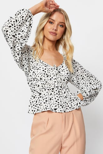 Long Sleeve Ruched Peplum Top