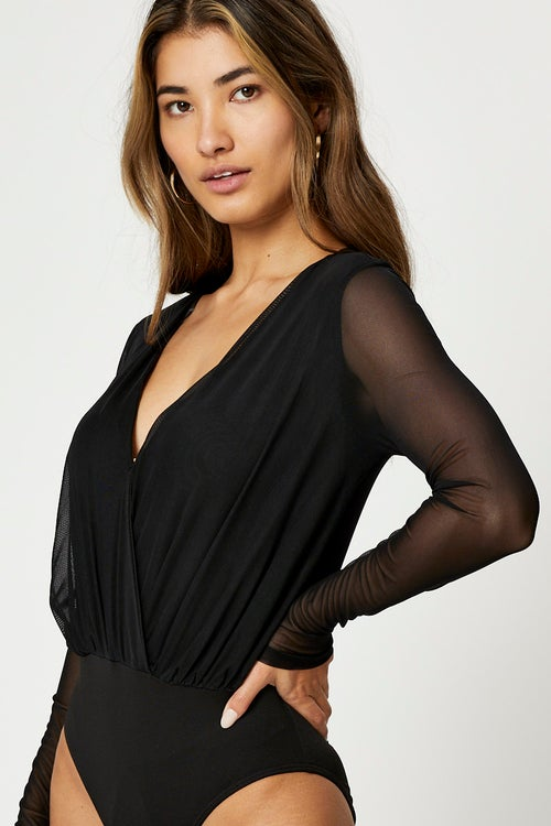 Long Sleeve Wrap Front Mesh Bodysuit