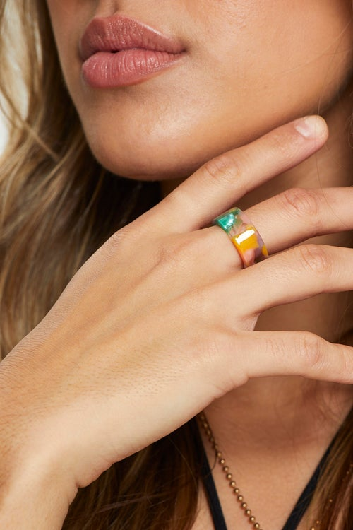 Marble Chunky Plastic Ring