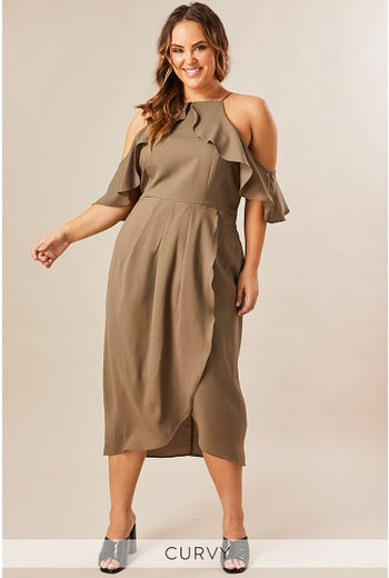 MARIAH COLD SHOULDER FRILL DRESS