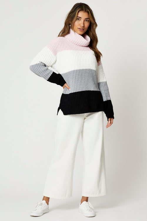 Matte Chenille Colour Block Longline Knit Top