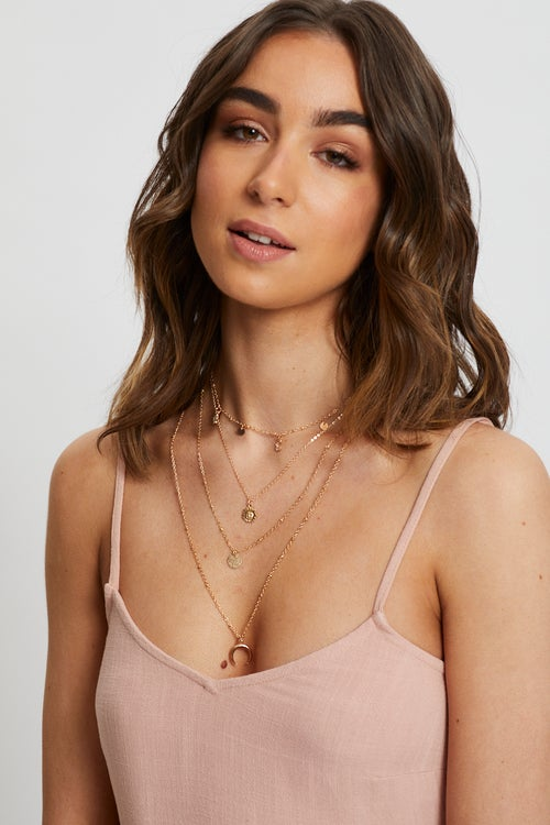 Moon Layered Necklace Set