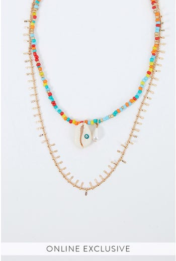 NYLA ROSE BEADED NECKLACE