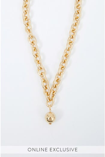NYLA ROSE CHUNKY CHAIN WITH BALL CHARM