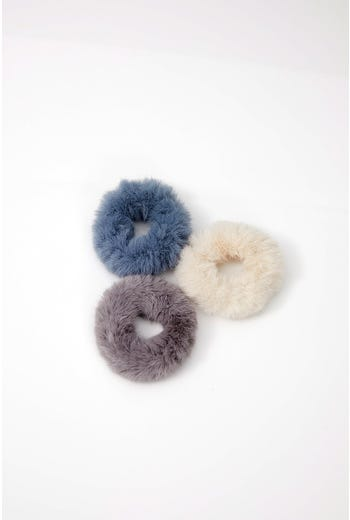 NYLA ROSE FAUX FUR SCRUNCHIE 3 PACK