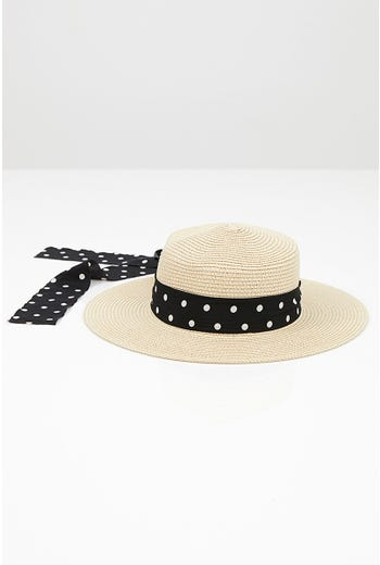 NYLA ROSE HAT WITH SPOT PRINT TRIM