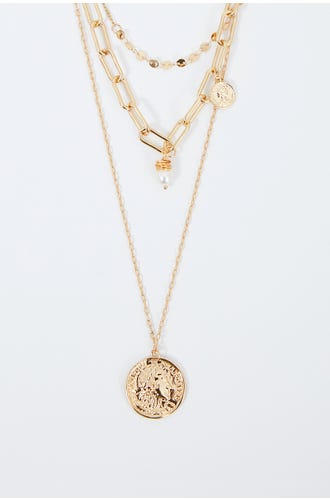 NYLA ROSE LAYERED COIN AND PEARL NECKLACE