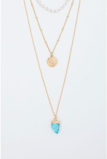 NYLA ROSE LAYERED METAL AND CRYSTAL NECKLACE