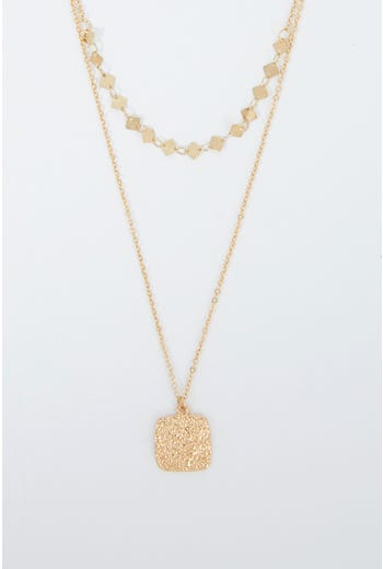 NYLA ROSE LAYERED  STYLED METAL NECKLACE
