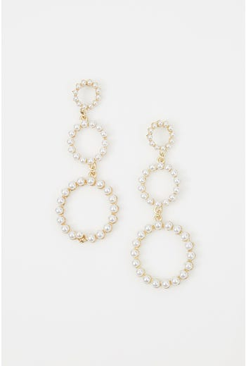 NYLA ROSE PEARL TRIPLE HOOP EARRINGS
