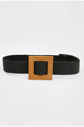 NYLA ROSE SQUARE BUCKLE  RAFFIA BELT