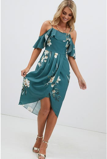 OFF SHOULDER WRAP MIDI DRESS