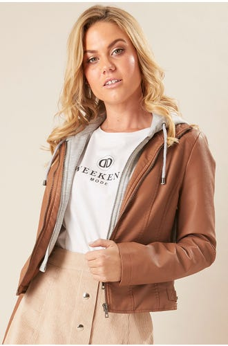 PU JACKET WITH HOODY
