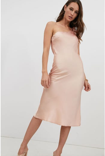 ONE SHOULDER TIE MIDI DRESS