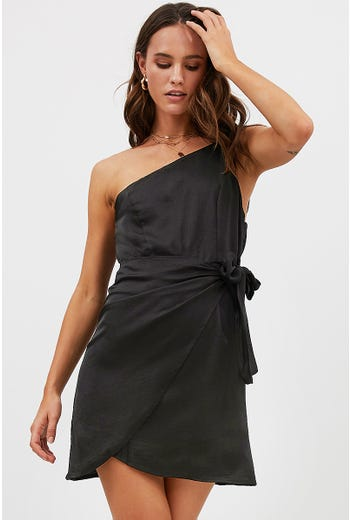 ONE SHOULDER WRAP DRESS