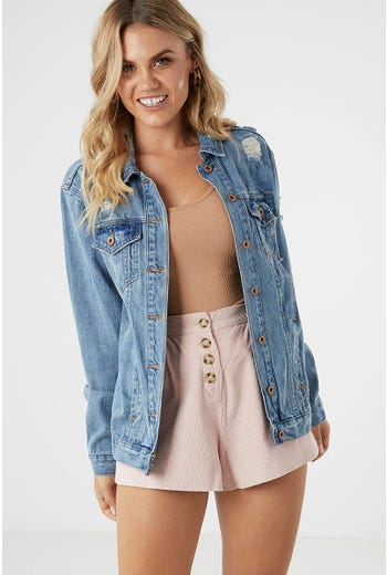 OVERSIZE DISTRESSED DENIM JACKET