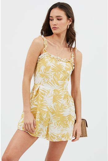 PALM PRINT FRILL PLAYSUIT