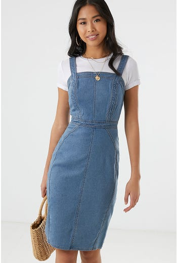 PANEL DETAIL DENIM MIDI DRESS