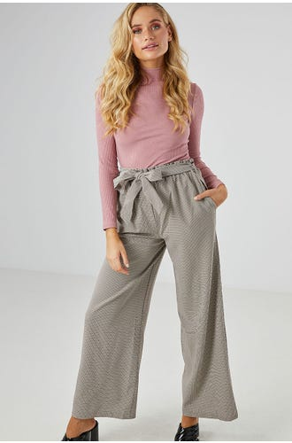 CHECK PAPERBAG WIDE LEG PANT