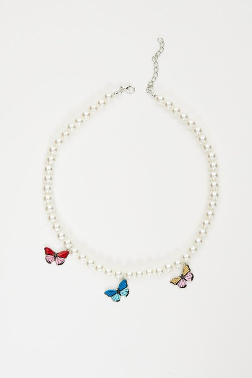 Pearl Butterfly Charms Necklace