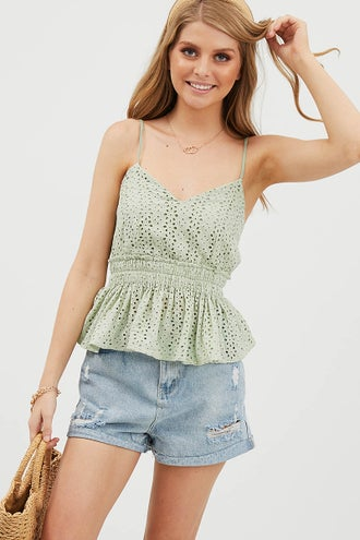 PEPLUM EYELET TOP