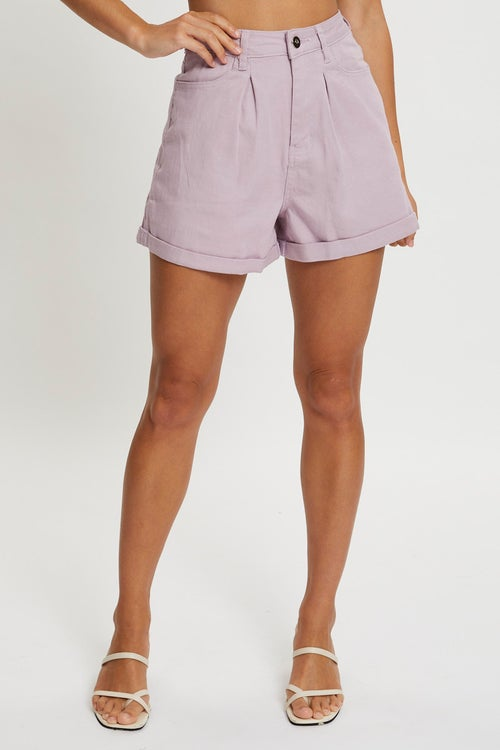 Pleated Color Denim Shorts