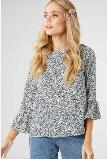 POLKA DOT BELL SLEEVE SHELL TOP