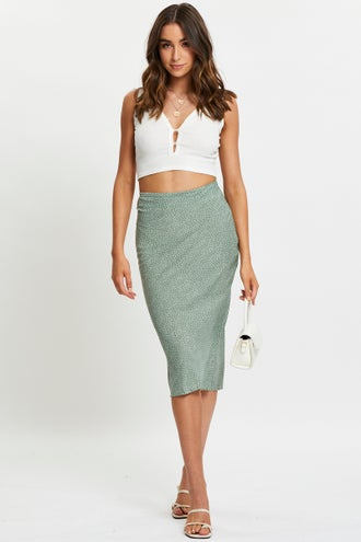 Polka Dot Slip Midi Skirt