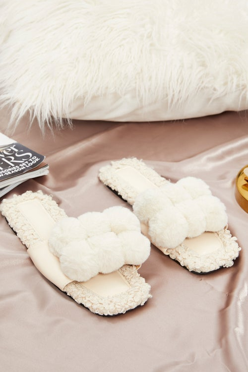 Pom Pom Fluffy Faux Fur Slider Slippers