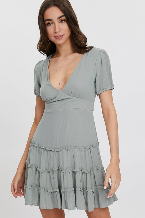 PUFF SLEEVE RUFFLE DRESS