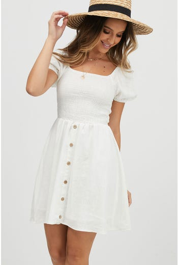 PUFF SLEEVE SHIRRED DRESS