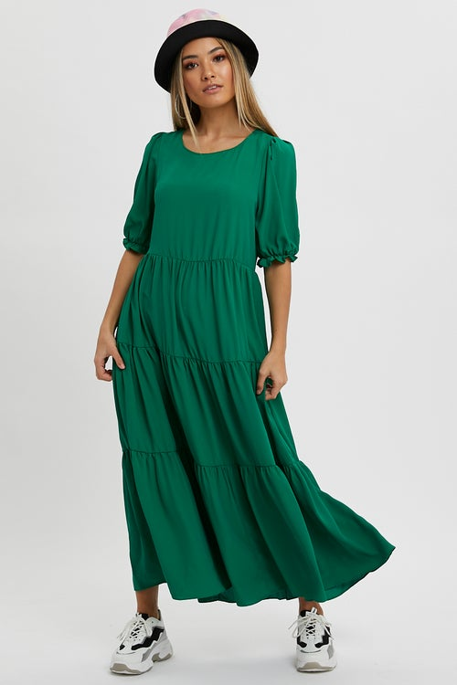 Puff Sleeve Swing Midi Dress