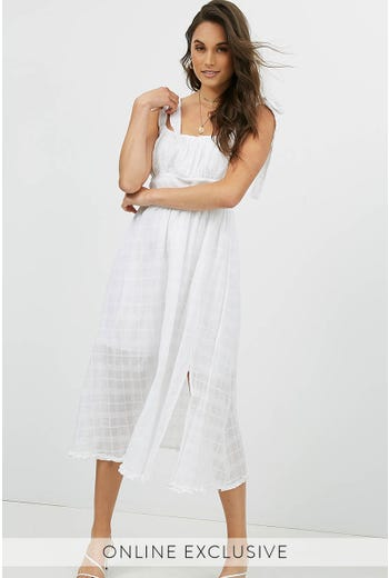 PURE WHITE MIDI DRESS