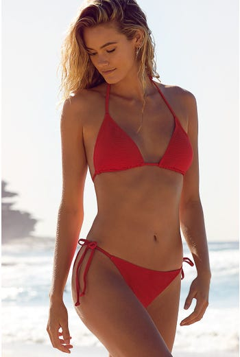 RED RIB TRIANGLE BIKINI TOP