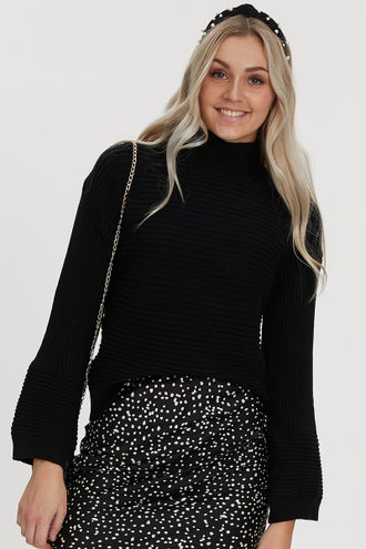 RIB-KNIT HIGH NECK DROP SHOULDER SWEATER