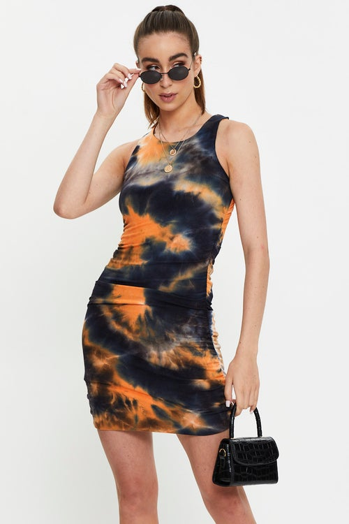 Ribbed Tie Dye Racer Neck Ruched Dress