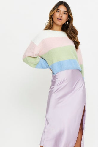 Round Neck Colour Block Fluffy Knit Top