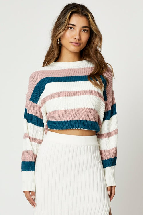 Round Neck Colour Block Knit Top