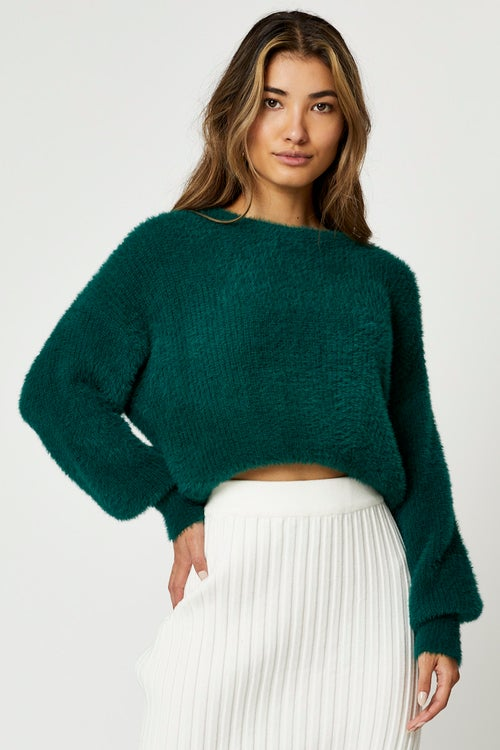 Round Neck Fluffy Knit Top