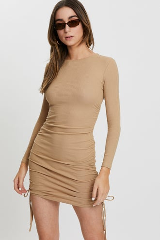 Ruche Side Ribbed Dress