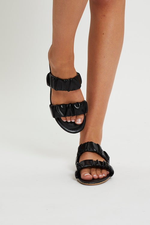 Ruched Detail Flat Sliders