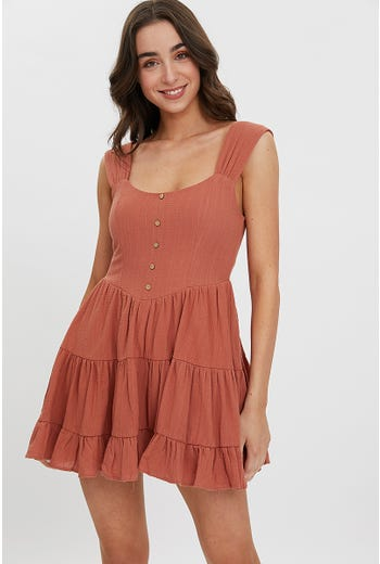 RUFFLE BUTTON FRONT DRESS
