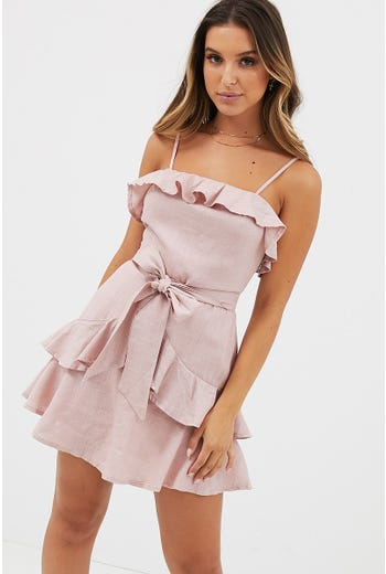 RUFFLE SQUARE NECK DRESS