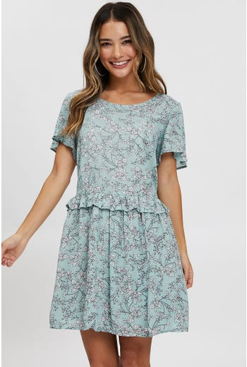 Ruffle Trim Swing Dress