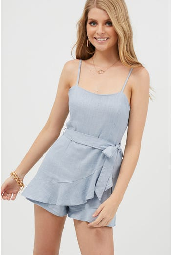 RUFFLE WRAP PLAYSUIT