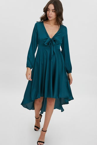 SATIN ASYMMETRIC HEM DRESS